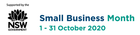 Small Business Month 2020 Logo - Supported by NSW Government